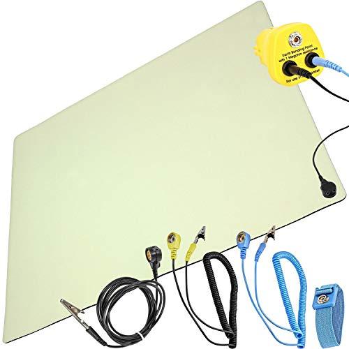 Minadax Antistatik-Matte - Professionelle Antistatische Arbeitsmatte - PVC-Matte mit Erdungskabel - Qualität - ESD-Schutz - 50 cm x 60 cm