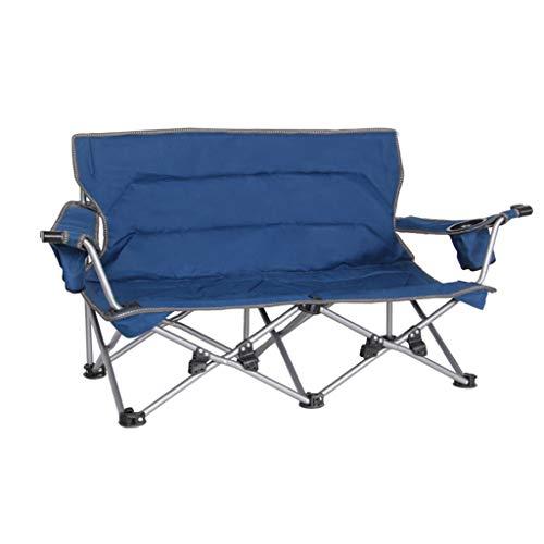 Couple Chaise Pliante Loisirs De Plein Air Pêche Retour Chaise Double Adapté pour La Maison Sauvage Camping Barbecue Chaise Chaise Portable (Color : Blue)