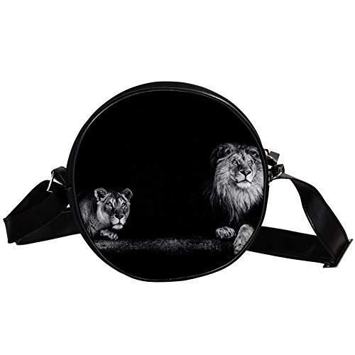 Bennigiry Handtasche Tiger und Löwe, runde Umhängetasche, Handtasche für Teenager, Mädchen und Frauen