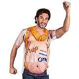 Boland 61853 – T-shirt photo réaliste pour homme, taille M/L, pour arbustes de bière, bretelles, Hollande, Pays-Bas, coupe du monde, coupe d'Europe, football, fête à thème, carnaval