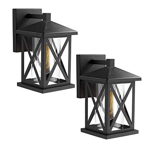 JAZAVA Outdoor Wall Mount Light Fixtures 2 Pack, Industrial Exterior House Lights Wall Sconce Lantern, 10.3 inches Height Porch Lights, Matte Black Finish with Clear Glass