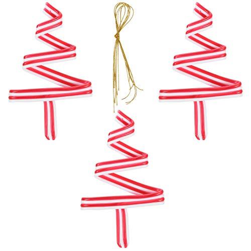 ABOOFAN 3 piezas mini bastón de caramelo para árbol de Navidad colgante en espiral, bastón de caramelo, paquete de Navidad para casa tienda cafetería