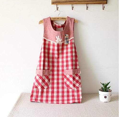 HPPSLT Schürze Baumwollleinenschürze Kindergarten Smock Frauen-Dame-Küche Kochen Putzen Esszimmer Vest Schürze Tea Shop Uniform-Brown_One Größe Kochschürze (Color : Red, Size : One Size)
