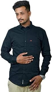 Darien Range Black Plain 100% Cotton Slim Fit Casual Shirt