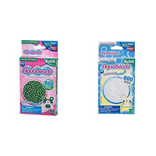 Aquabeads 32548 Perlen Bastelperlen nachfüllen grün & 32638 Perlen weiß