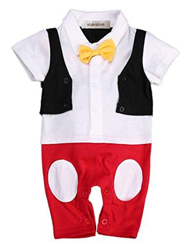 stylesilove.com Baby Boy Bowtie Cartoon Photo Prop Romper Onesie (100/18-24 Months) White