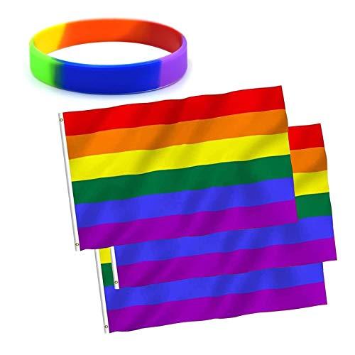 Aibada - Juego de 3 banderas de bandera del orgullo arcoíris, 150 x 90 cm y 1 pulsera de silicona