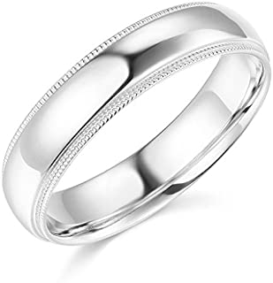 14k Yellow OR White Gold 5mm SOLID COMFORT FIT Plain Milgrain Wedding Band