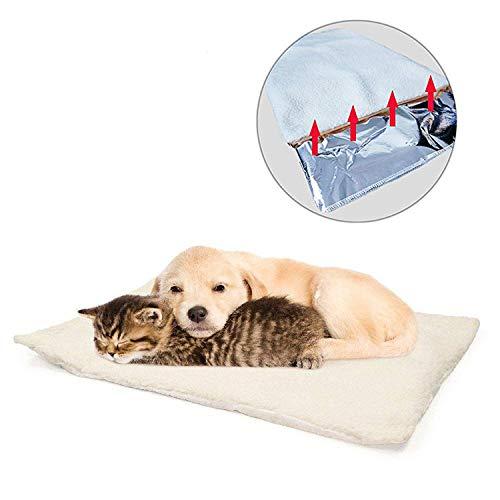 GingerUP Katzendecken Haustierdecke, selbstheizend, waschbar, weiche Wolldecke, selbstwärmend, Haustierfreundlich, Weiß, 64x49cm