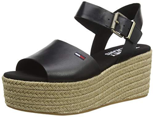 Tommy Jeans Damen Natural Flatform Geschlossene Sandalen, Schwarz (Black Bds), 41 EU
