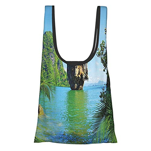 T-shop Ocean Island Decor Collection James Bond Island Phang Nga Thailand Filming Cliff Geological Formation Picture Green Blue Reusable Fold Eco-Friendly Shopping Bags