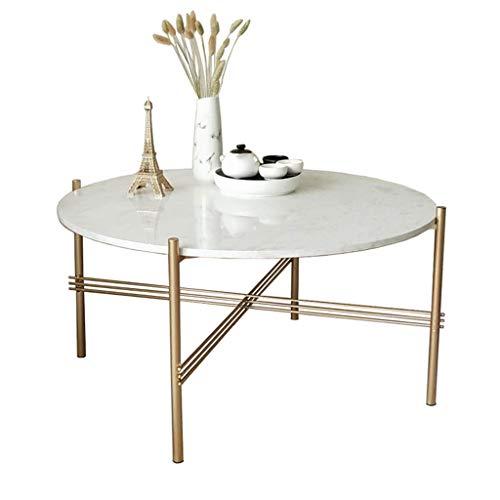 Weißer Marmor Couchtische/Beistelltisch, Moderne Designermöbel Dekor runden Beistelltische für Wohnzimmer oder Büro, im goldenen Korb