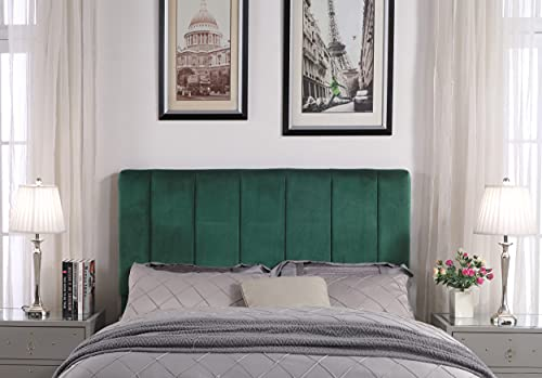 Iconic Home Uriella Headboard Velvet Upholstered Vertical Striped Modern Transitional Full/, Queen, Green