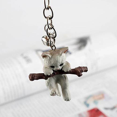 XMYNB Llavero de animal gato mordida rama juego llavero lindo gato arena colgante llavero llavero mujer bolsa colgante clave decoración clave, White (Blanco) - 6961406030692
