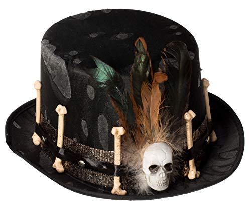 Brandsseller Kostüm Verkleidung Hut Zylinder - Karneval Fasching Halloween Party Totenkopf Knochen (schwarz) Einheitsgröße