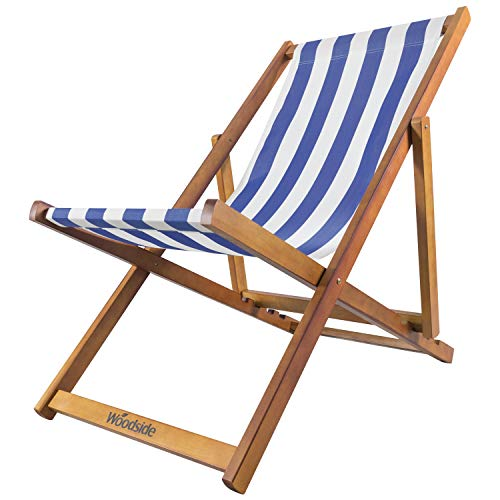 Woodside Traditional Folding Beach/Garden Wooden Deck Chair Seaside Lounger Dark Blue & White