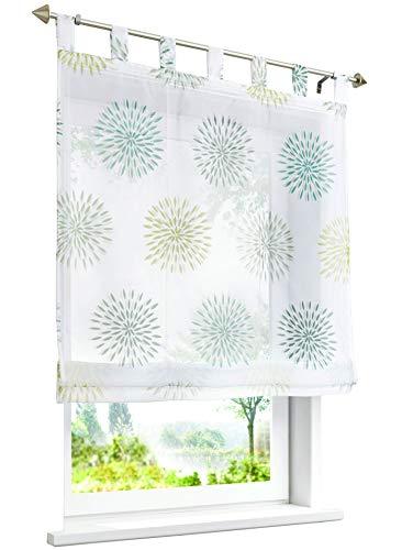BAILEY JO Raffrollo mit Kreis-Motiven Druck Design Rollos Voile Transparent Vorhang (BxH 120x140cm, Grün mit Schlaufen)
