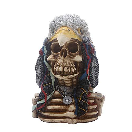 Decoración de resina Cráneo realista con Eagle fideos, Arte de crecimiento simulado Personalidad cráneos humanos Modelo Adornos for la barra casera Ciencias de la Educación Juguetes, crear una atmósfe