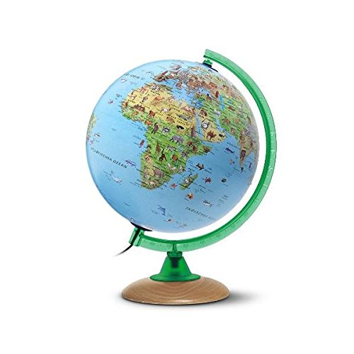 Kinderglobus KS 2525: Globus für Kinder mit vielen Abbildungen, 25 cm Durchm., heller Echtholzfuß, Meridian grün, inkl. Begeitbüchlein