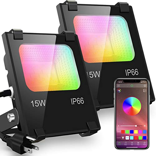 LED Flood Light 100W Equivalent RGB Color Changing, Outdoor Bluetooth Smart Floodlights RGBW 2700K Warm White & 16 Million Colors, 20 Modes, Grouping, Timing, IP66 Waterproof (2 Pack)
