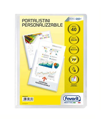 Favorit Portalistino Personalizzabile 40 Buste Buccia d'arancia, 22 x 30 cm, Trasparente