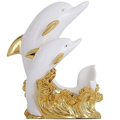 TDOYO Adornos Madre delfín Resina Vino Vino Vino Rack de Entrada escaparate, Decoración de la cafetería del gabinete del Vino de la Sala de Estar(Color : White Golden),A