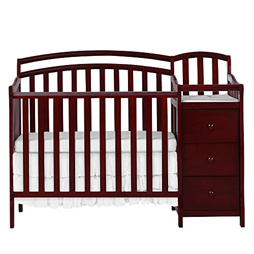 Dream On Me Casco 3 in 1 Mini Crib and Dressing Table Combo Cherry