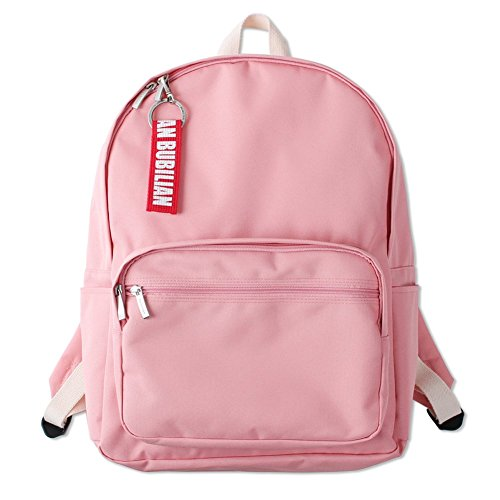 Bubilian BTBB Korean Style Canvans Student Backpack with Keyring (Pink)