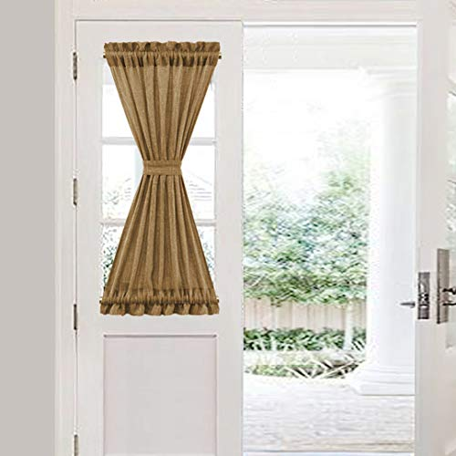 VORTTA Burlap Look Door Curtain Rod Pocket Tan Natural Soft Rustic Patio Curtains Panel for French Door Window with a Tieback 25W by 40L inches, 1 Panel