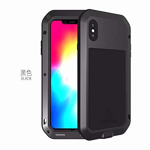 Love Mei - Carcasa para iPhone XS Max (aluminio y metal, para Apple iPhone XS Max de 6,5 pulgadas, carcasa trasera de silicona con protector de cristal Gorila)