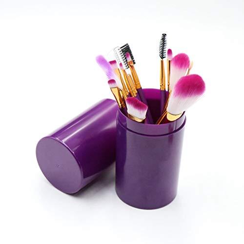 Lot de 12 pinceaux de maquillage cylindriques pour pinceaux de maquillage montés haut de gamme