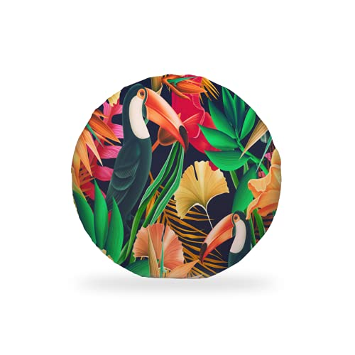 Round Seat Cushions Chic Toucan Bird Tropical Leaves Orchid Flowers Memory Foam Chair Pads Soft Circle Stool Bistro Chair Cushion Lumbar Support Pillow for Home Kitchen Office Chair Outdoor 15 Inch