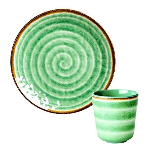 Rice Geschirr-Set aus Melamin, Flacher Teller und Becher, Motiv Spirale grün, Handwerkskunst