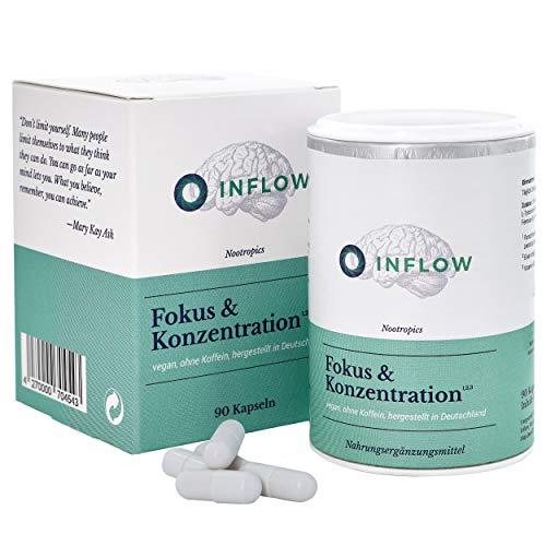Inflow Fokus & Konzentration¹ - 90 vegane Brain-Booster² Tabletten mit B5¹, B12³ fürs Gedächtnis & Gehirn | ohne Koffein
