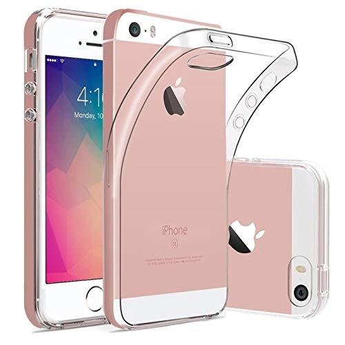 Verco Handyhülle für iPhone 5 Hülle, iPhone SE (1. Generation) Handy Cover für Apple iPhone 5S Hülle Transparent Dünn Klar Silikon, durchsichtig