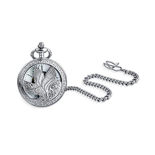 Bling Jewelry Personalizarlo Vintage Estilo Esqueleto Patriotic EE.UU. Flying pájaro Americano Bald Eagle Pocket Reloj para Hombres Numeral Blanco dial Plateado Acabado con Cadena de Bolsillo Larga