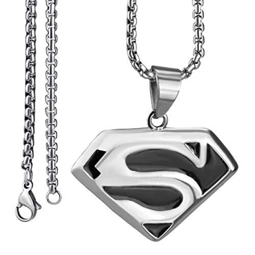 YUNMENG Collar con Colgante de Acero Inoxidable para Hombre, joyería de Cadena de Superman