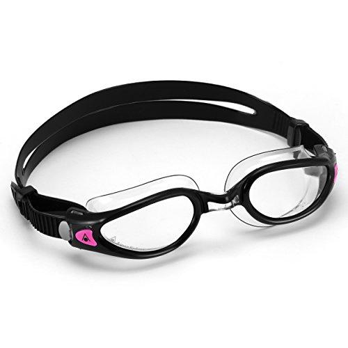 Aqua Sphere Kaiman Exo - Gafas de natación para mujer, lentes transparentes, color negro y transparente, talla única
