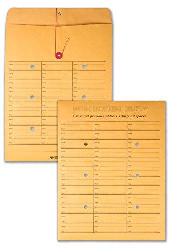 Quality Park, Interoffice Envelopes, String-Tie Box, Brown Kraft, 10x13, 100 per Box (63562), Light Brown