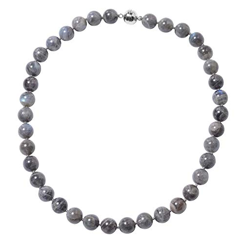 TJC Bead Strand Labradorite Necklace for Women 925 Sterling Silver Size 20', 476 Ct
