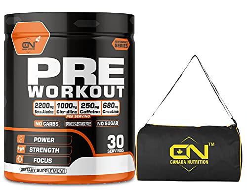 Canada Nutrition Hardcore Preworkout | Lean Muscles Building | Strength | Mental Focus | Energy | Powerful Pumps | Creatine, Beta Alanine, AAKG, Caffeine for Men & Women [30, Cranberry] Free Gym Bag