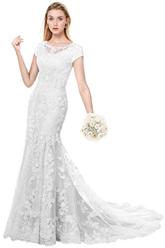 MILANO BRIDE Modest Wedding Dress for Bride Short Sleeves Sheath Floral Lace-16-Pure White