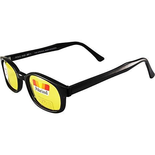 Pacific Coast Original KD's Biker Sunglasses (Black Frame/Yellow Lens) by Pacific Coast Sunglasses