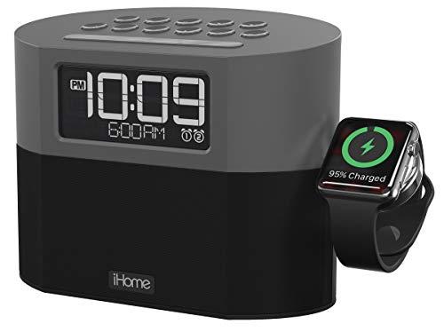 iHome Bluetooth Dual Alarm FM Clock Radio with Speakerphone, Apple Watch Charging and USB Charging