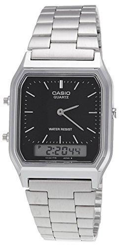 Casio AQ-230A 1DMQ Orologio digitale-analogico, da uomo, cinturino in acciaio INOX
