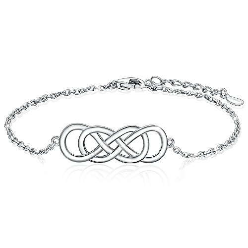 JZCOLOR | Sterling Silver Infinity Pendant Bracelet | White Gold Plated Celtic Knot and Adjustable Loop with Clasp