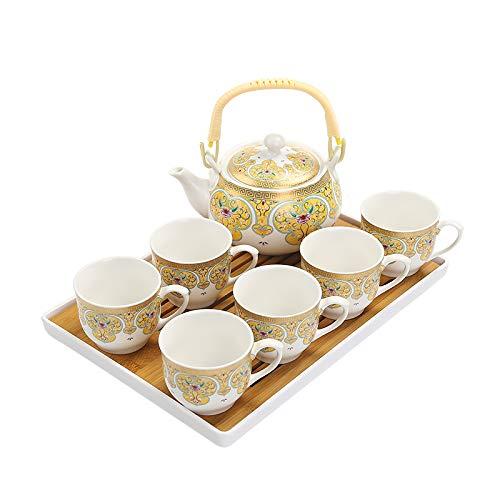 HRDZ Juego de Tazas de café Taza de Tetera Conjunto de cerámica para el hogar Conjunto de bandejas Conjunto de 8 Piezas 130 ml