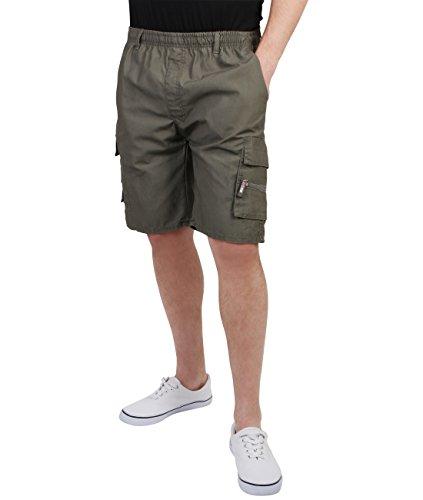 Pantalón Corto Estilo Safari de Algodón[Caqui Oscuro,XXL (Cintura 81cm-91.5cm/Largo 23cm)]