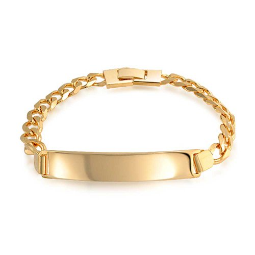 Bling Jewelry Cuban Curb Link Engravable ID Identification Bracelet for Men for Women 180 Gauge 18K Gold Plated Brass