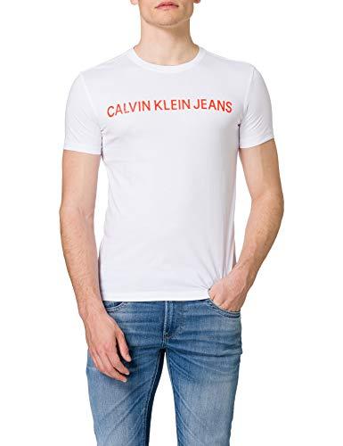 Calvin Klein Jeans INSTITUTIONAL Logo Slim SS tee Camiseta, Blanco Brillante, S para Hombre